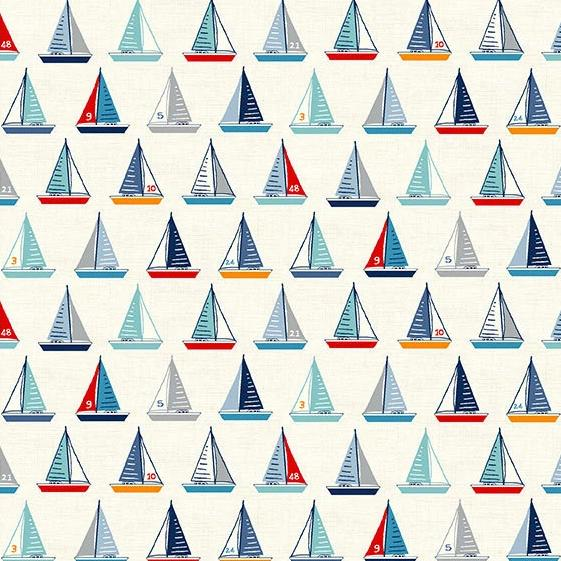 PREORDER - Sail Away Yachts on Cream - Priced by the Half Yard - SHIPS Jan/Feb 2020 - brewstitched.com