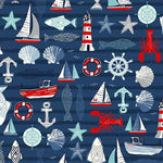 PREORDER - Sail Away Sailing Icons on Navy - Priced by the Half Yard - SHIPS Jan/Feb 2020