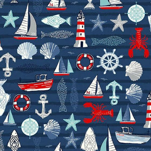 PREORDER - Sail Away Sailing Icons on Navy - Priced by the Half Yard - SHIPS Jan/Feb 2020 - brewstitched.com