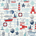 PREORDER - Sail Away Sailing Icons on Cream - Priced by the Half Yard - SHIPS Jan/Feb 2020