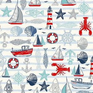PREORDER - Sail Away Sailing Icons on Cream - Priced by the Half Yard - SHIPS Jan/Feb 2020 - brewstitched.com