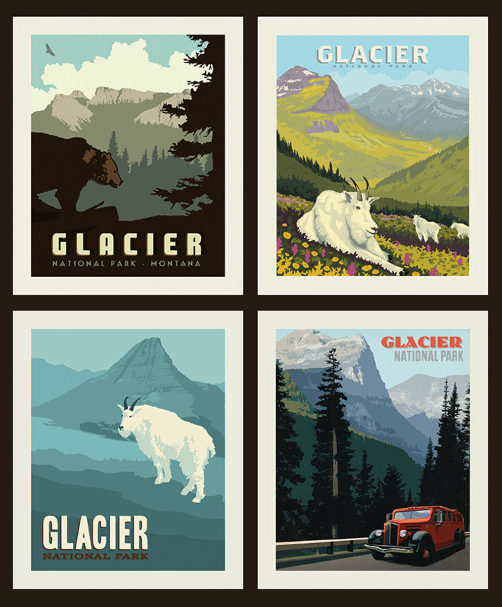National Parks Pillow Fabric Panel Glacier - Priced by the Panel - brewstitched.com