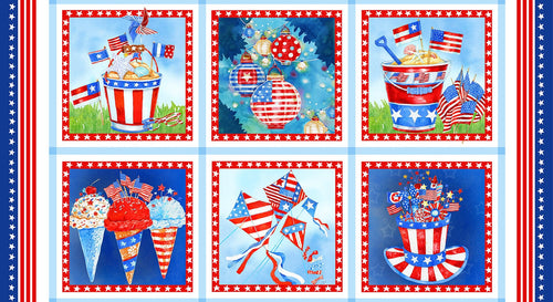 Star Spangled Summer 24 x 44 Block Panel - brewstitched.com