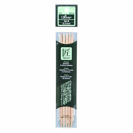 Clover Takumi Bamboo 7 inch Double Point Knitting Needle Size 8 - brewstitched.com