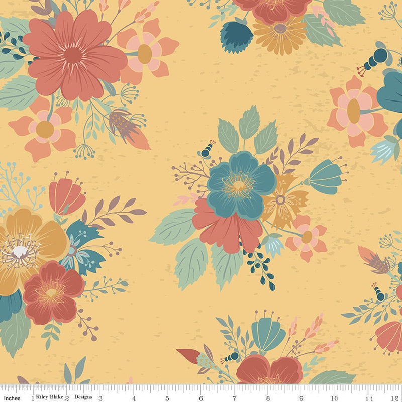 Dream Weaver Main Floral Gold - Priced by the Half Yard - brewstitched.com