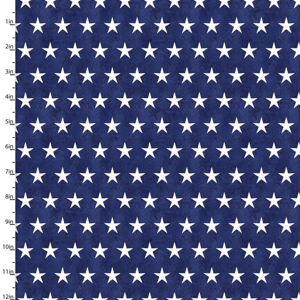 American Spirit Stars on Navy - Priced by the Half Yard - brewstitched.com
