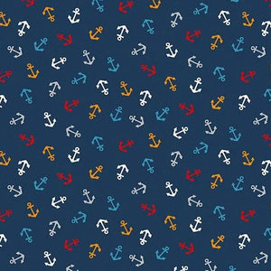 PREORDER - Sail Away Anchors on Navy - Priced by the Half Yard - SHIPS Jan/Feb 2020 - brewstitched.com