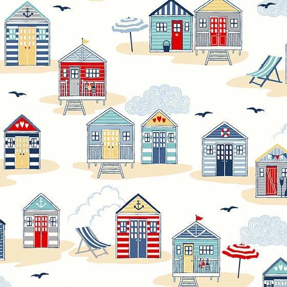 Sail Away Beach Huts on Cream - brewstitched.com