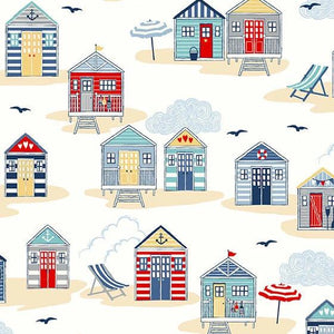 PREORDER - Sail Away Beach Huts on Cream - Priced by the Half Yard - SHIPS Jan/Feb 2020 - brewstitched.com