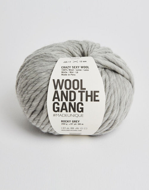 Wool and the Gang Crazy Sexy Wool Yarn in Rocky Gray - brewstitched.com