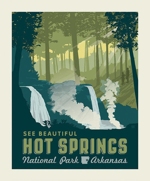 National Parks Poster Fabric Panel Hot Springs - Priced by the Panel - brewstitched.com