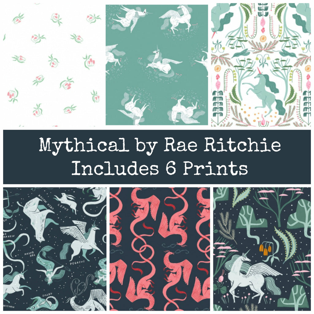 PREORDER - Mythical Half Yard Bundle - Includes 6 Prints - SHIPS March 2020 - brewstitched.com