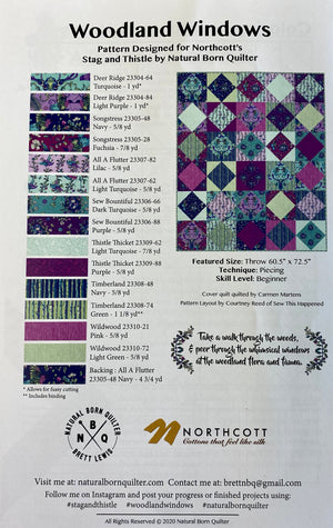 Stag and Thistle Woodland Windows Quilt Paper Pattern - brewstitched.com