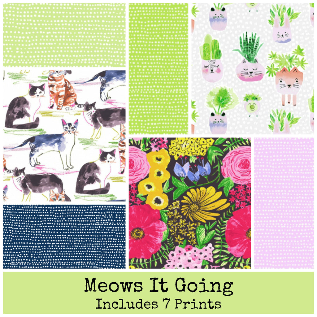 Meows It Going Fat Eighth Bundle Includes 7 prints - brewstitched.com