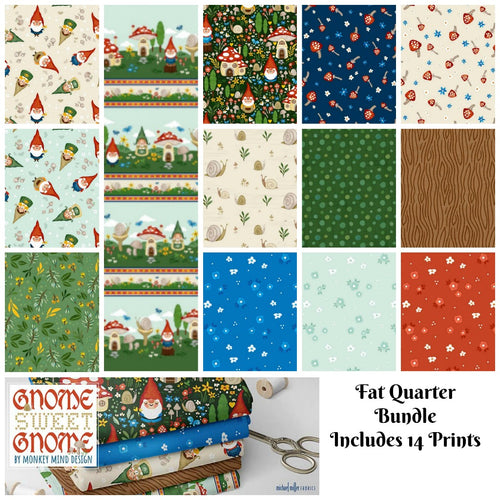 Gnome Sweet Gnome Fat Quarter Bundle - brewstitched.com