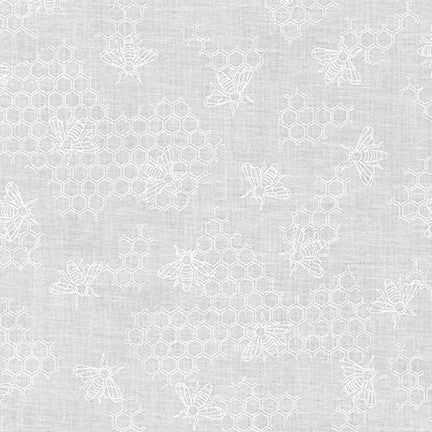 Mini Madness White Bees - Priced by the Half Yard - brewstitched.com