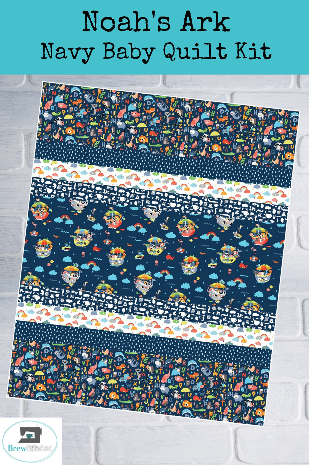 Noah's Ark Baby Quilt Kit in Navy - brewstitched.com