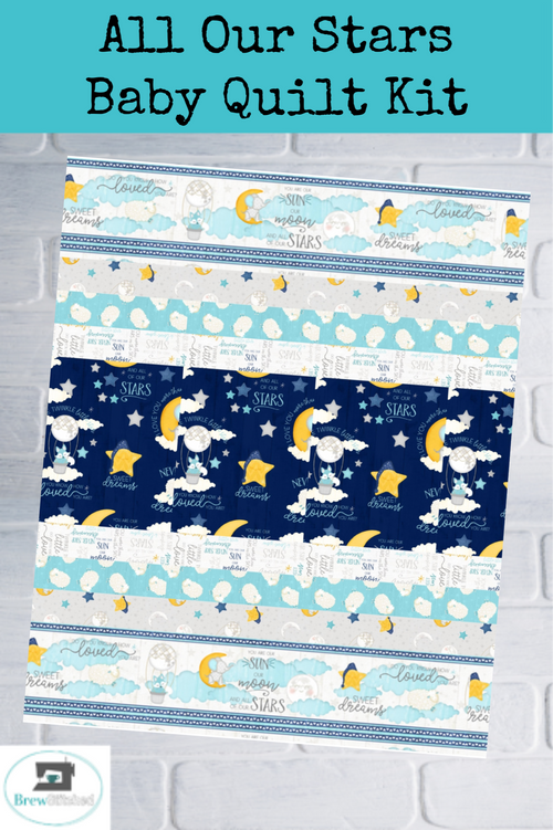 All Our Stars Baby Strip Quilt Kit Blue Opt 1 - brewstitched.com
