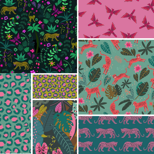 Night Jungle Half Yard Bundle - Includes 7 Prints - brewstitched.com