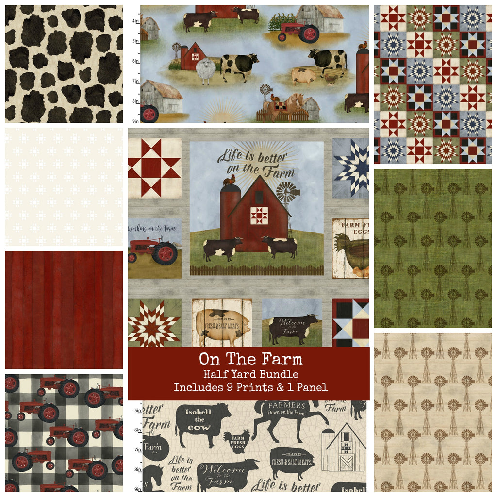 On the Farm Half Yard Bundle - Includes 9 Prints + 1 Panel - Coming Sept 2020 - brewstitched.com