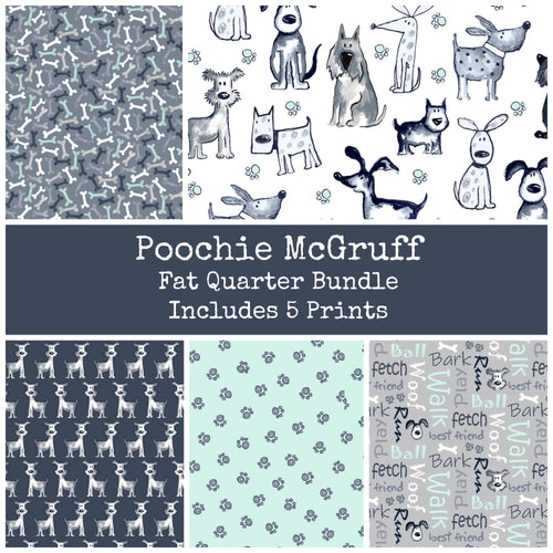 Poochie McGruff Flannel Fat Quarter Bundle - Includes 5 Prints - brewstitched.com