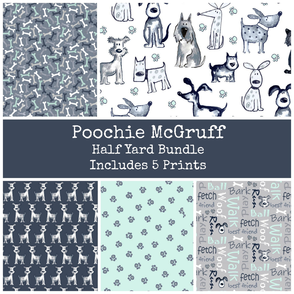 Poochie McGruff Flannel Half Yard Bundle - Includes 5 Prints - Coming Sept 2020 - brewstitched.com