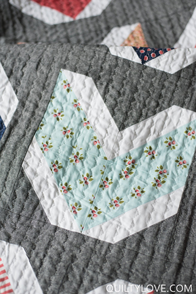 Quilty Arrows Quilt Paper Pattern from Quilty Love - brewstitched.com