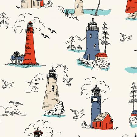 Smooth Seas Lighthouse Bright - Priced by the Half Yard - Expected Feb 2021 - brewstitched.com