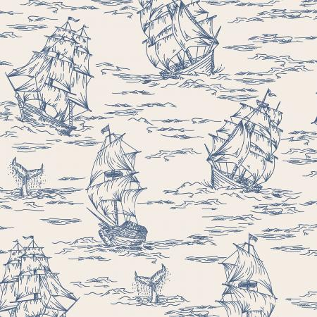 Smooth Seas Voyage Blue - Priced by the Half Yard - Expected Feb 2021 - brewstitched.com