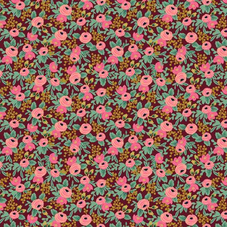 Garden Party Rosa Burgundy Metallic Fabric - Priced by the Half Yard - brewstitched.com