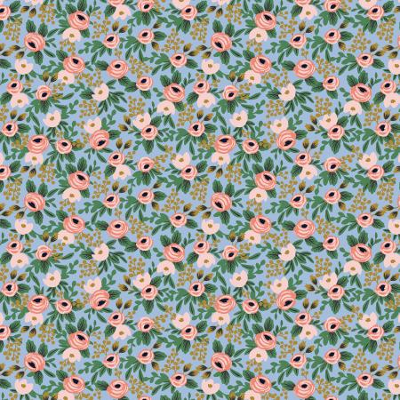 Garden Party Rosa Chambray Metallic Fabric - Priced by the Half Yard - brewstitched.com