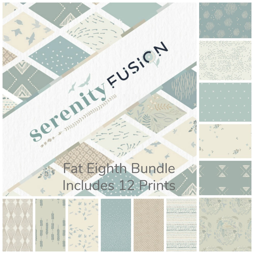 Serenity Fusion Fat Eighth Bundle - Includes 12 Prints - Coming Oct 2020 - brewstitched.com