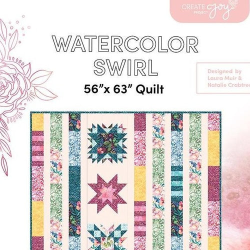 Watercolor Swirl Quilt Paper Pattern from Create Joy Project - brewstitched.com