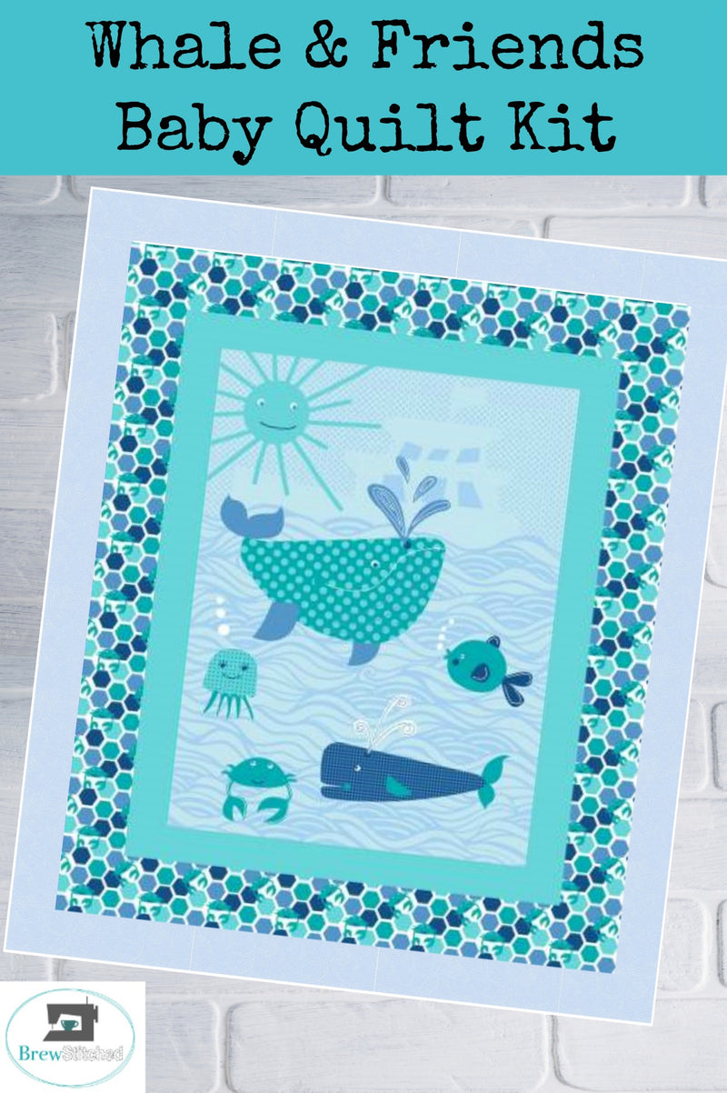 Whales Baby Quilt Kit measures 41 x 50