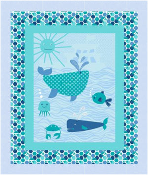 Whales Baby Quilt Kit measures 41 x 50 - brewstitched.com
