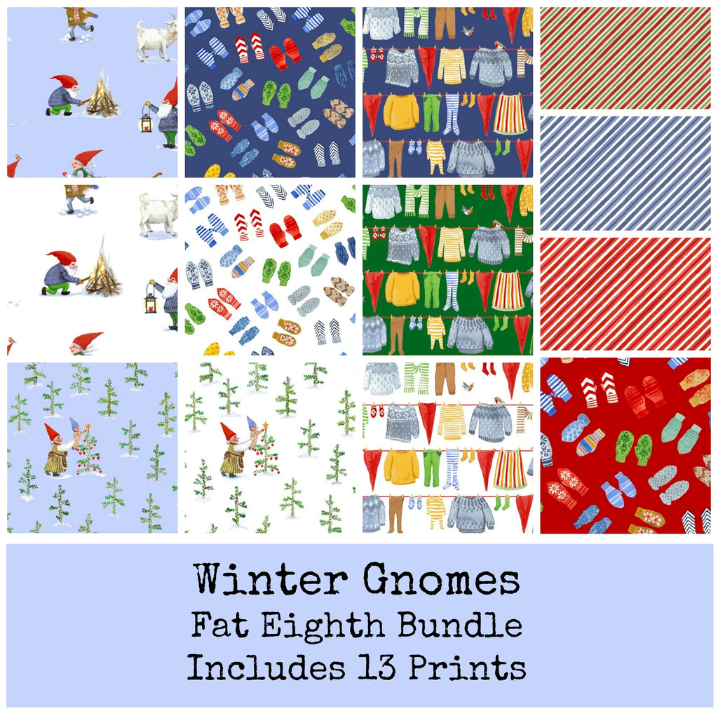 Winter Gnomes Fat Eighth Bundle Organic Cotton - Coming June 2020 - brewstitched.com