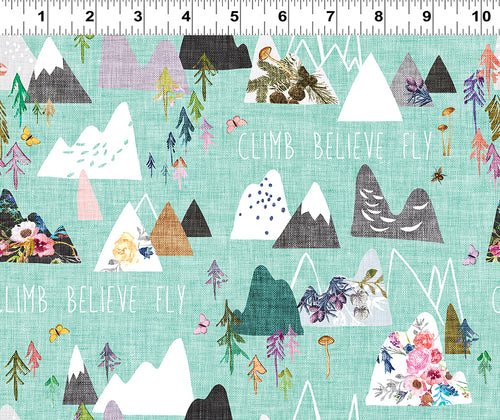 Forest Glade Mint Climb Believe Fly - Priced by the Half Yard - Expected Feb 2021 - brewstitched.com
