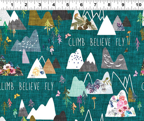 Forest Glade Teal Climb Believe Fly - Priced by the Half Yard - Expected Feb 2021 - brewstitched.com