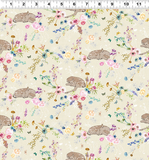 Forest Glade Cream Floral and Fawn - Priced by the Half Yard - Expected Feb 2021 - brewstitched.com