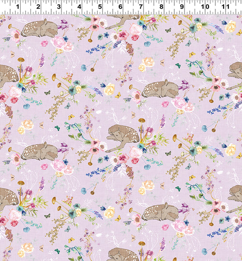 Forest Glade Lavender Floral and Fawn - Priced by the Half Yard - Expected Feb 2021 - brewstitched.com