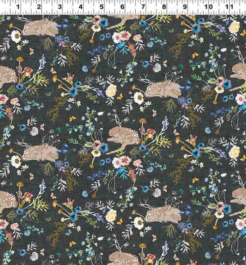 Forest Glade Charcoal Floral and Fawn - Priced by the Half Yard - Expected Feb 2021 - brewstitched.com