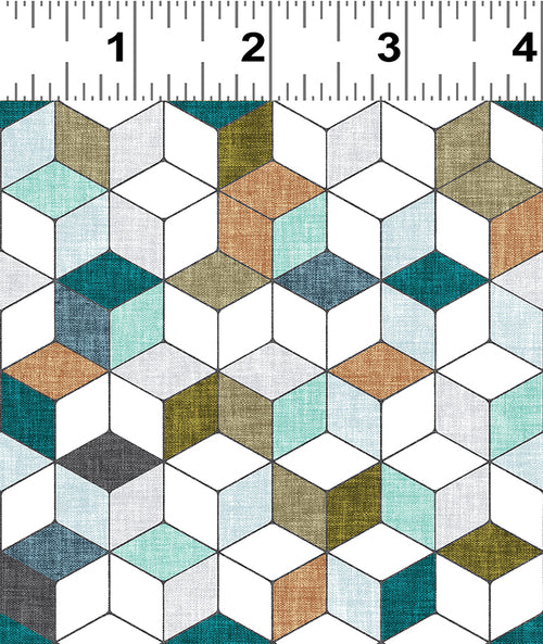 Forest Glade Teal Geo Cubes  - Priced by the Half Yard - Expected Feb 2021 - brewstitched.com
