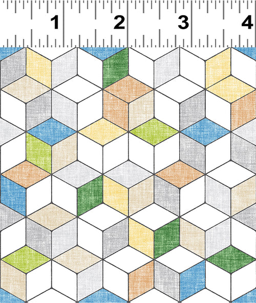 Forest Glade Green Geo Cubes  - Priced by the Half Yard - Expected Feb 2021 - brewstitched.com