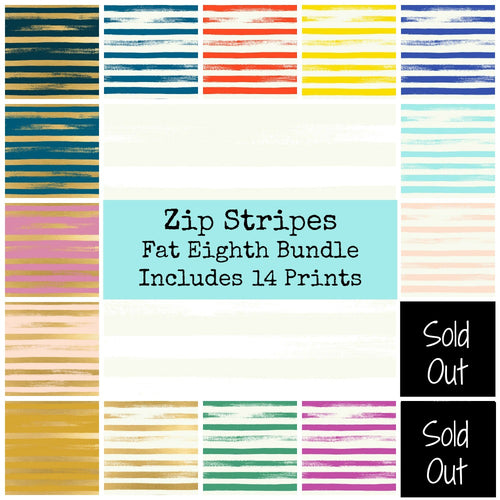 Zip Stripe Fat Eighth Bundle - Includes 14 Prints - brewstitched.com