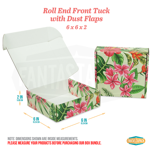 "Hawaiian Themed Shipping Box | 6"" x 6"" x 2"""