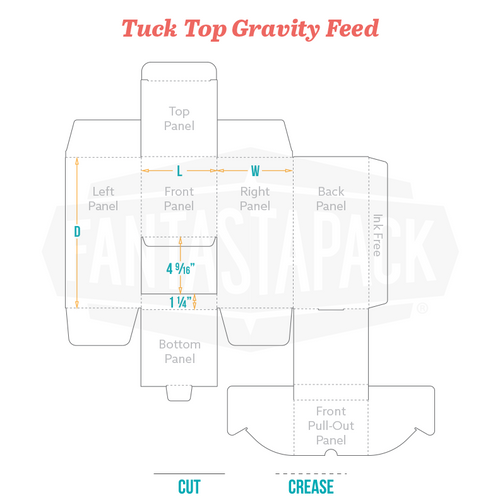Tuck Top Gravity Feed Dieline Fantastapack