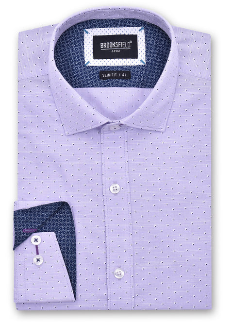 Brooksfield 1363 Purple Luxe Print Shirt