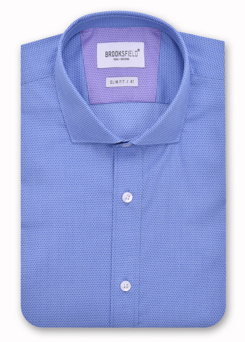 Brooksfield 1367 Blue Textured Weave Shirt