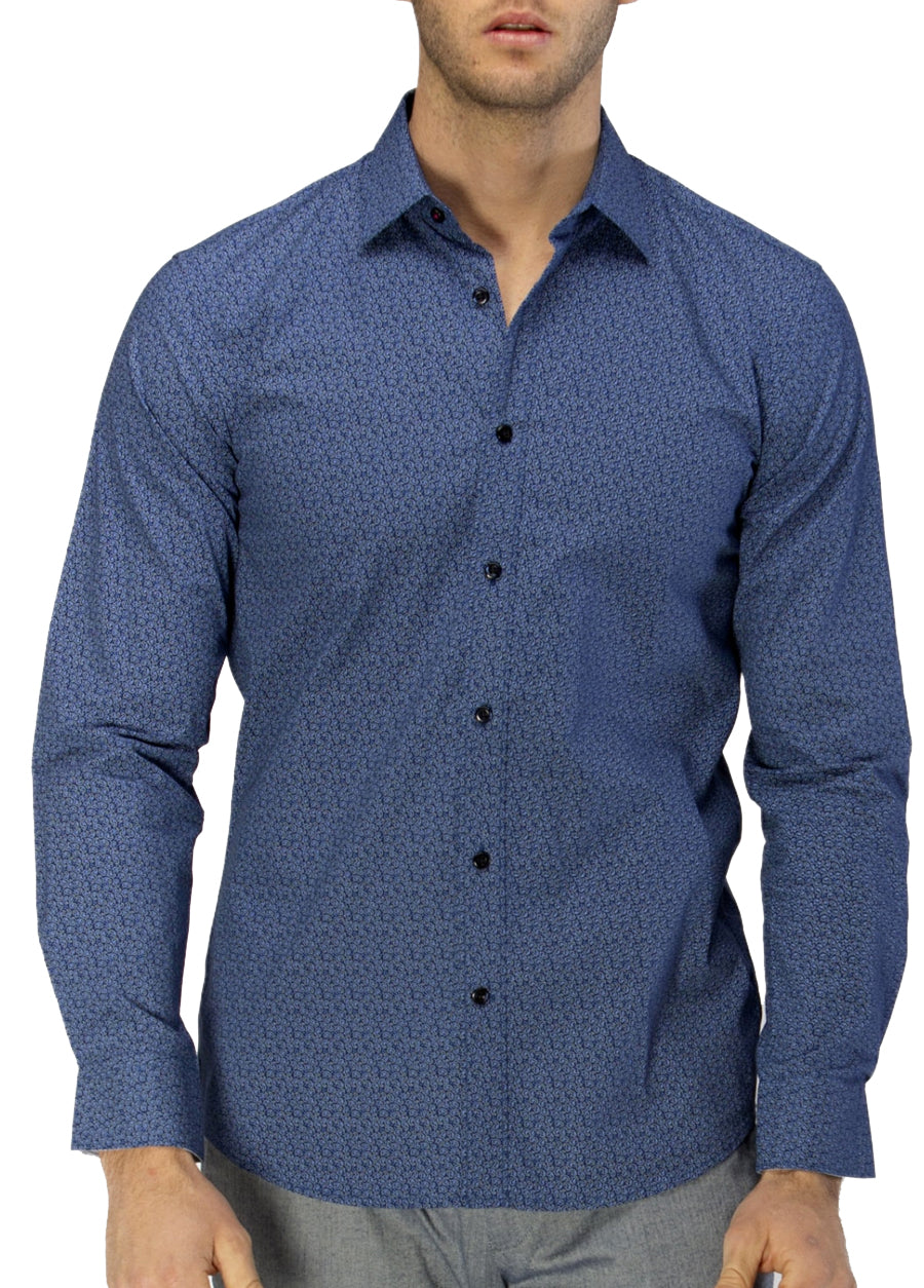 Luxe Dot Paisley Print Slub Business Shirt