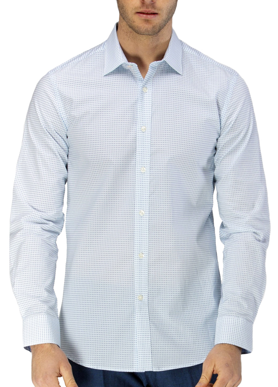 Luxe Two-Tone Diamond Print Business Shirt